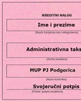 Payment instructions: Administrative tax MUP PJ Podgorica